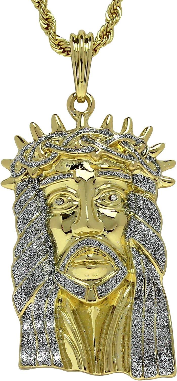 14k Gold Plated Large Jesus Piece Cz Pendant 24