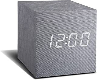 Aluminium Cube Click Clock with White display showing Time/Date/ Temperature