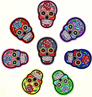 Babycola's Mum 8 PCS Punk Patches, Skull Patches, Mexican Sugar Skull Embroidered Iron on Patch, Assorted Color