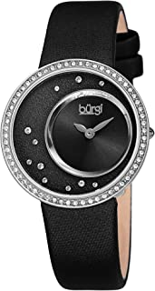 Burgi Swarovski Crystals Women's Watch - Crystals On Bezel and on Dial with Inner Sunray Dial On Satin Over Leather Band- BUR271