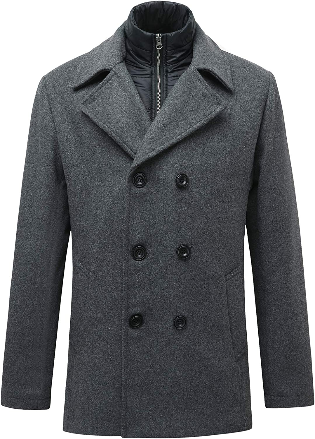 Men's Double Breasted Wool Blend Pea Coat,Classic Notched Collar with Removable Bib