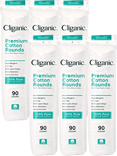 Cliganic Premium Cotton Rounds for Face (6 Pack), Makeup Remover Pads, Hypoallergenic, Lint-Free | 100% Pure Natural ...