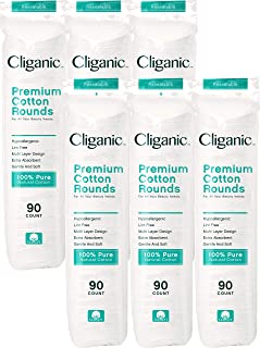 Cliganic Premium Cotton Rounds for Face (600 Count) | Makeup Remover Pads, Hypoallergenic, Lint-Free | 100% Pure Cotton [6 pack]