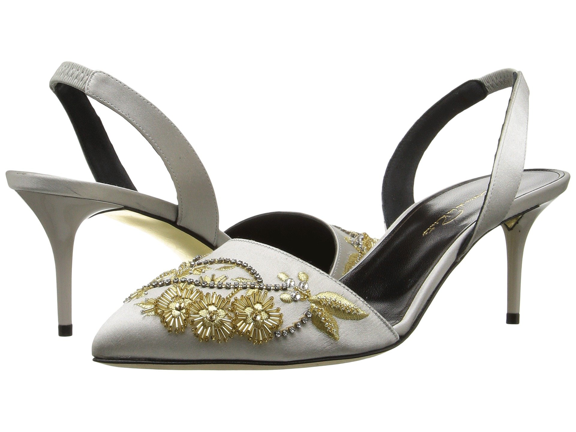 Oscar de la Renta Sling Back Satin Sandals