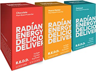 REDD - 18 Bar Variety Pack - Plant Based Protein Bar - 6 Chocolate, 6 Oatmeal, 6 Peanut Butter - Gluten Free, Vegan, Low Sugar, High Fiber, Probiotics, 18 Count