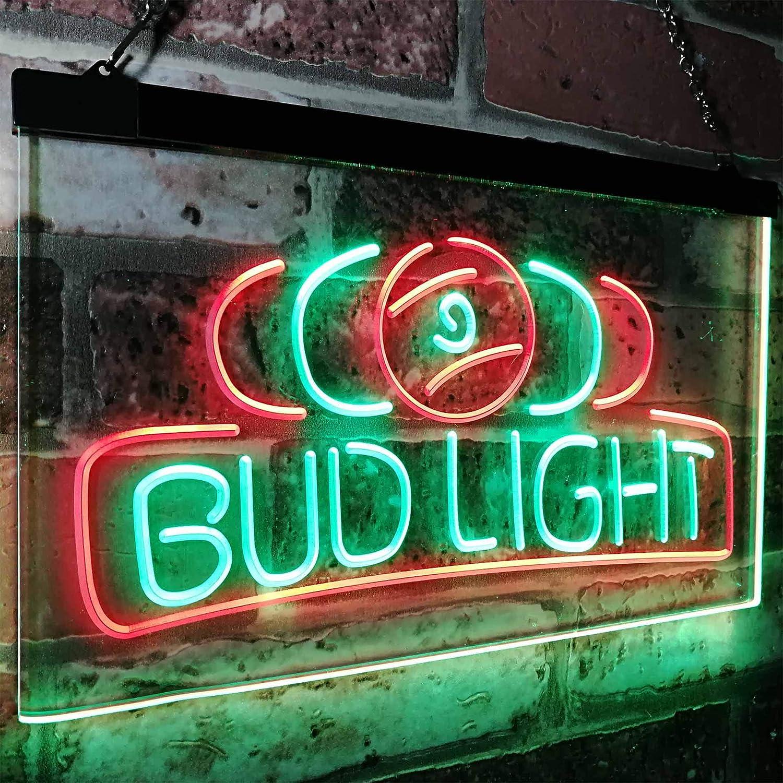 Zusme Bud Light Bud Light Pool Room 9 Ball Snooker Billiard Novelty LED Neon Sign Grün + rot W40cm x H 30cm