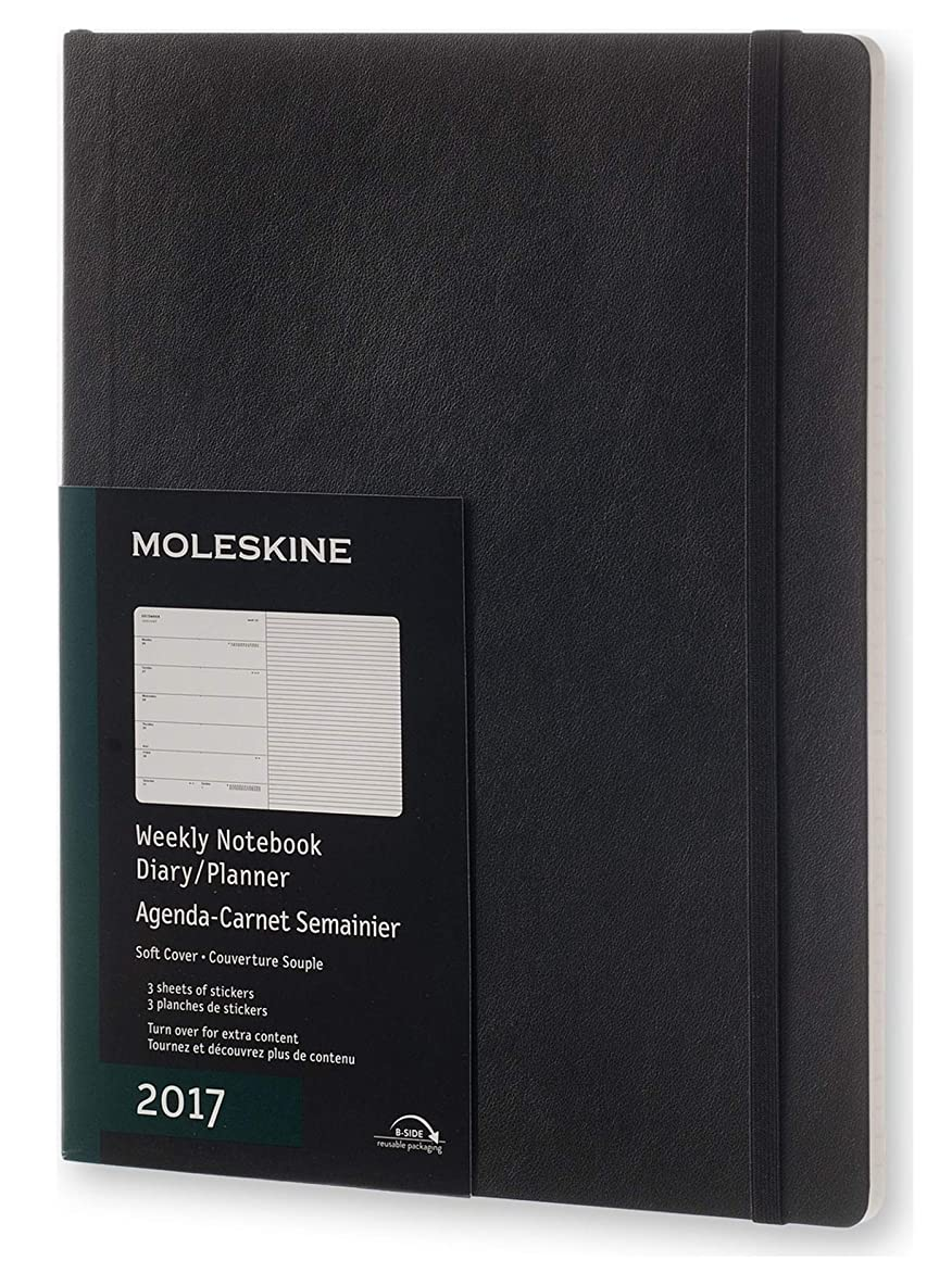 折ホース劣るMoleskine 2017 Weekly Notebook, 12M, Extra Large, Black, Soft Cover (7.5 x 10)