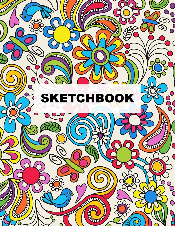 理容師アラームうめきSKETCHBOOK: Colorful Boho Flowers Large Artist Sketchbook ~ Funky Novelty Gift for Artists, Blank Notebook for Drawing, Sketching & Doodling