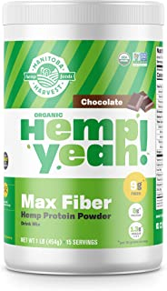 Manitoba Harvest Hemp Yeah! Organic Max Fiber Protein Powder, Chocolate, 16oz; with 9g of Fiber, 8g Protein and 1.3g Omegas 3&6 per Serving, Preservative Free, Non-GMO
