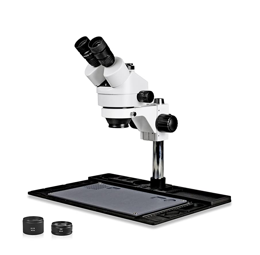 Parco Scientific PA-10FZ Trinocular Stereo Zoom 7x-45x Microscope with Barlow Lens, Repair and Maintenance Platform for Soldering and, Cell Phone Repair