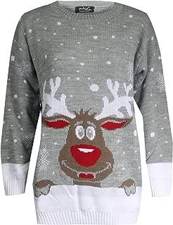 FK Styles Women's Rudolph Reindeer Print Snowflake Christmas Jumper S/M = 8-10 Grey