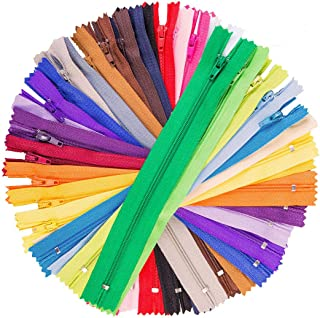 100Pcs 9 Inch Nylon Coil Zippers Tailor Sewer Bulk for Sewing Crafts (25 Colors)