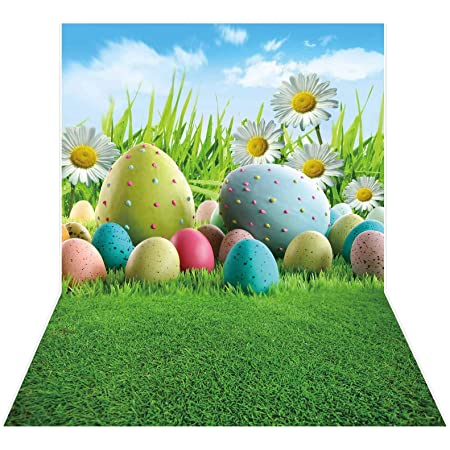 YongFoto 10x9ft Happy Easter Backdrop Egg Hunt Game Party Decor Colorful Decorated Eggs Cartoon Spring Grass Land Easter Day Celebration Photography Background Home Event Banner Kids Photoshoot Prop