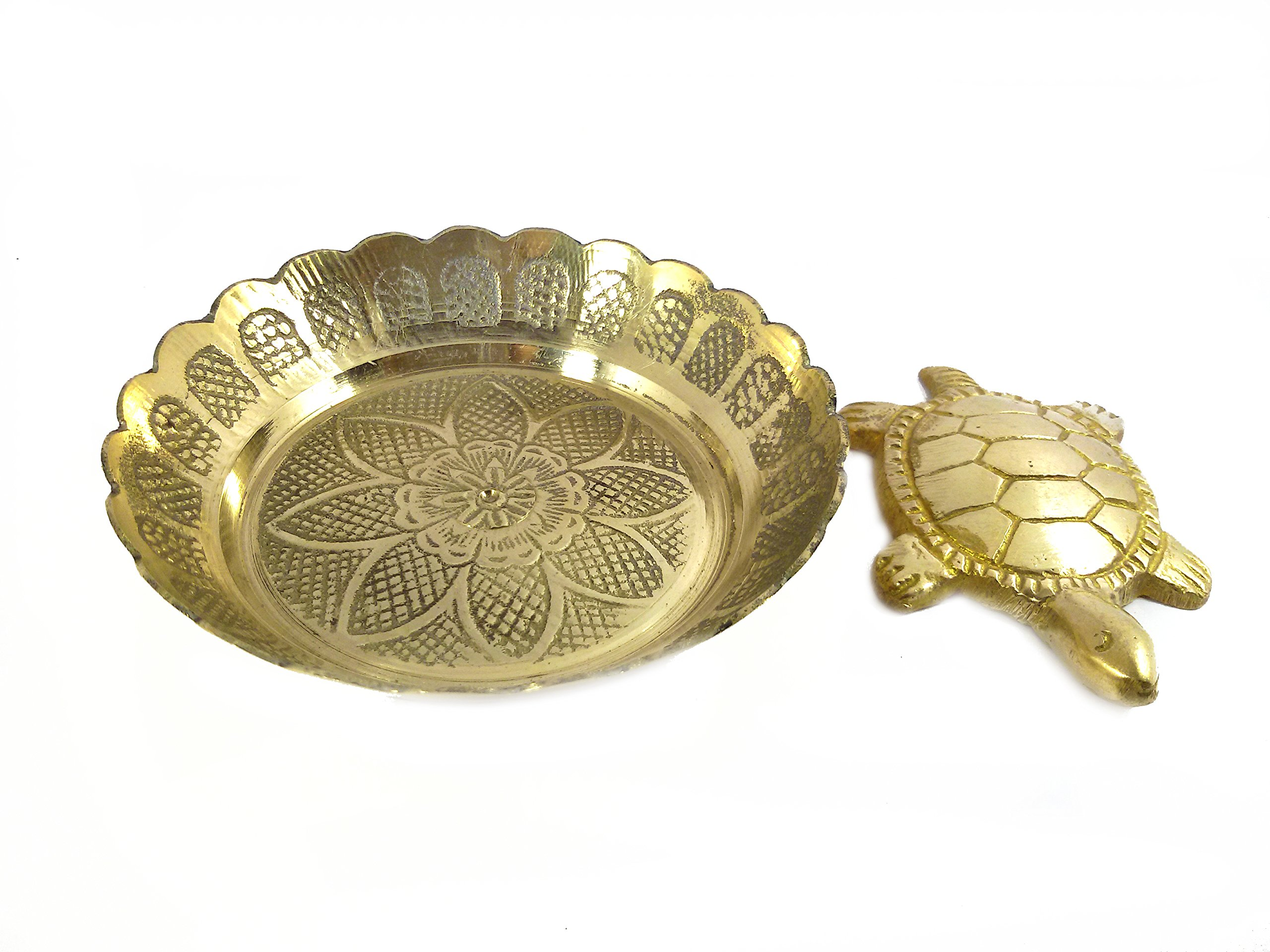 Pinnacle Golden Feng Shui Metal Tortoise with Metal and Glass Plate showpiece Lucky Charms Good Omens Good Health Save Now