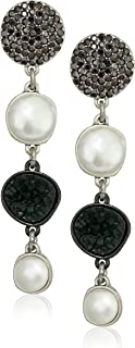 Asymetrical Pave Pearl Drop Earrings, Silver, One Size