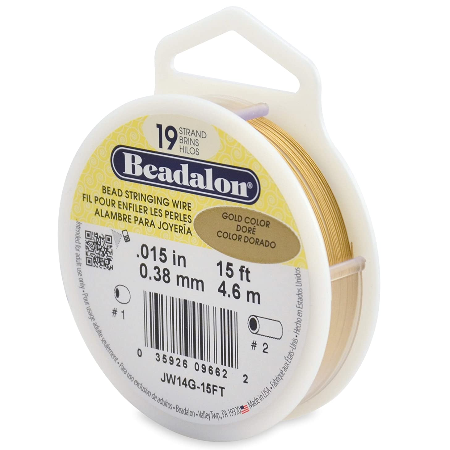 Beadalon 19-Strand Bead Stringing Wire, 0.015-Inch, Gold Color, 15-Feet