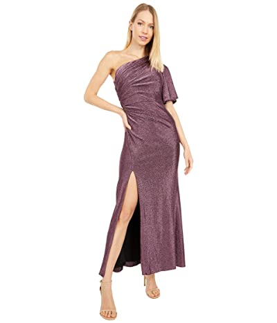 Adrianna Papell Petite One Shoulder Metallic Knit Side Draped Mermaid Gown (Amethyst) Women