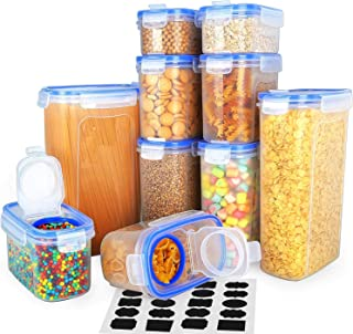 Food Storage Containers 10 Pack - VERONES Airtight Cereal Container Set Cereal Dispenser Set for Flour Snacks Nuts & Baking Supplies