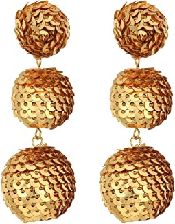 2 Gold Sequin Wrapped Ball Post Earrings w/ Dome Top