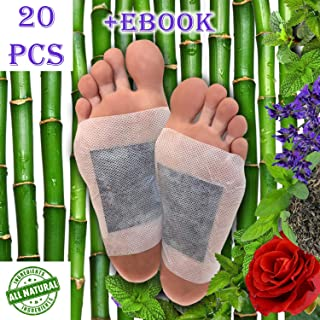 Foot Pads 20pc, Bonus EBOOK | Lavender, Rose, Mint, Green Tea | Upgraded 2in1 | All Natural 100% Organic Aroma Foot Pads (20)