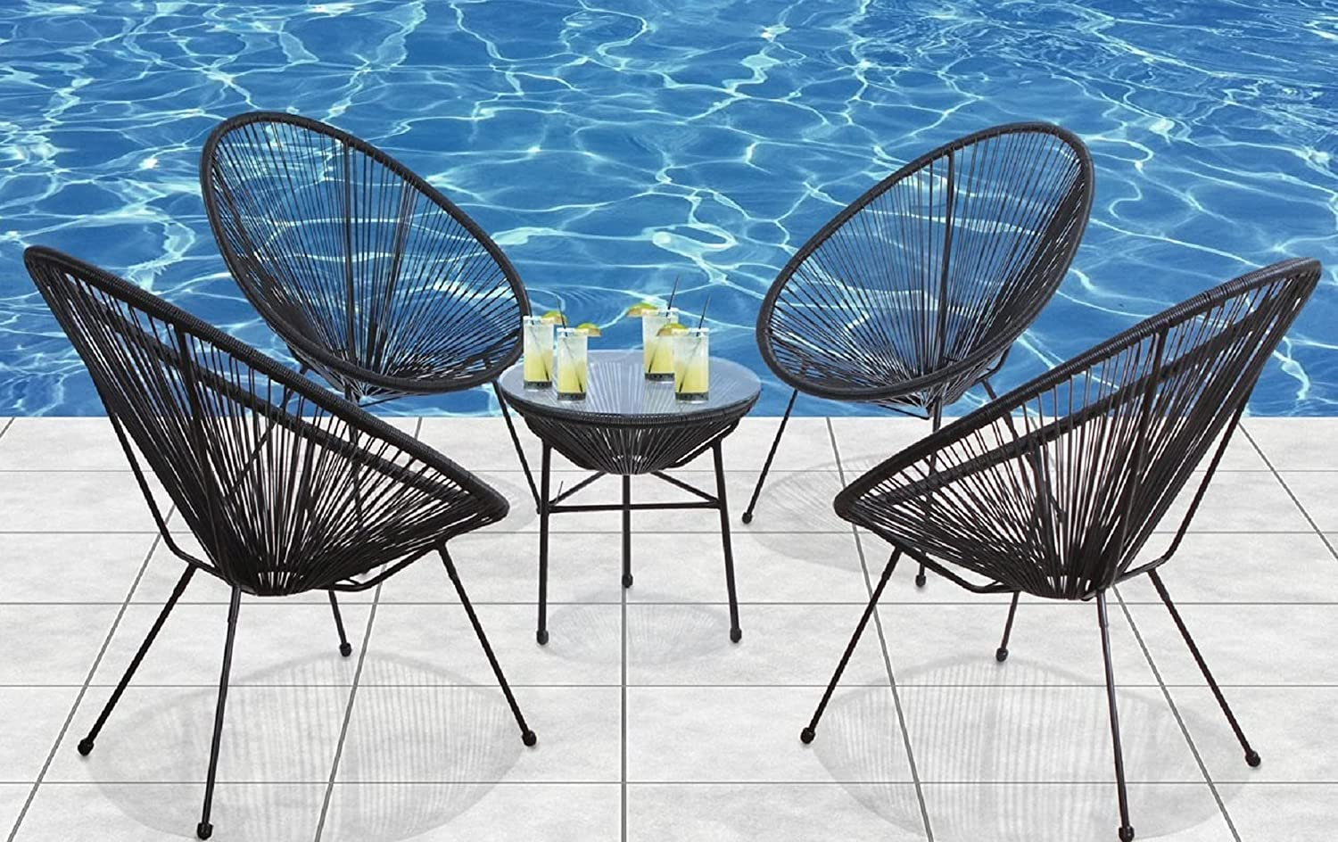 Acapulco Fashionable Woven Lounge Chair for Ranking TOP1 Indoor Outdoor 4PC and Blac Use