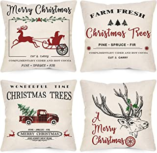 LAVEVE Christmas Decorative Pillow Covers 18x18 Inch Set of 4, Winter Christmas Deer Gharry Throw Pillow Covers, Linen Merry Christmas FarmhouseTree Car Cushion Case for Sofa and Couch