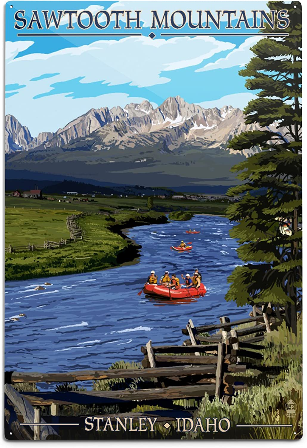 Lantern New products world's highest quality popular Press Stanley Idaho Mountains Rafting Sawtooth 12x18 Our shop most popular