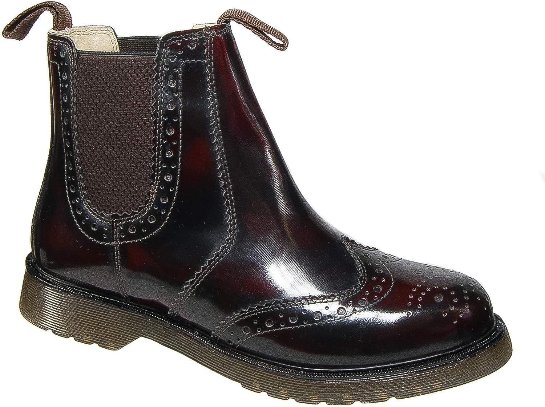 Grafters. Mens Brogue Dealer Boots Oxblood Hi Shine Leather Slip On Chelsea