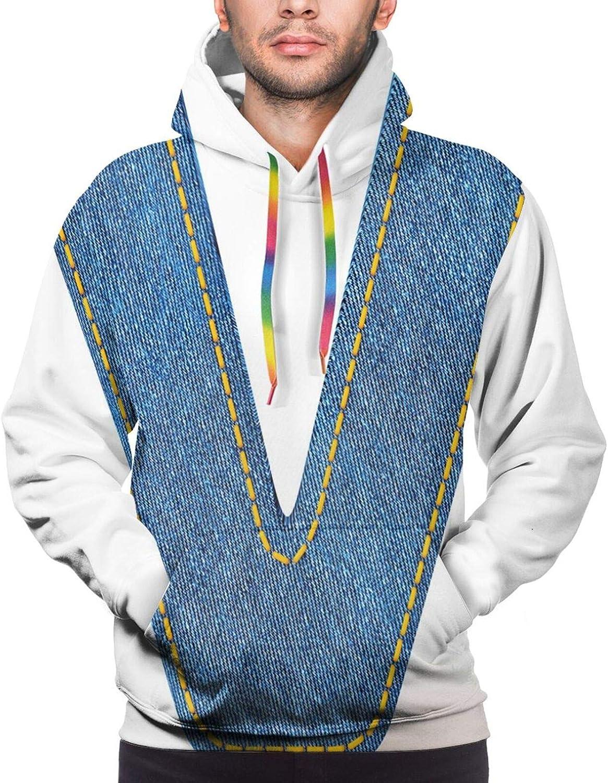 TENJONE Men's Hoodies Sweatshirts,Clothing Fashion Style Theme with Majuscule V Alphabet Symbol Modern Pattern