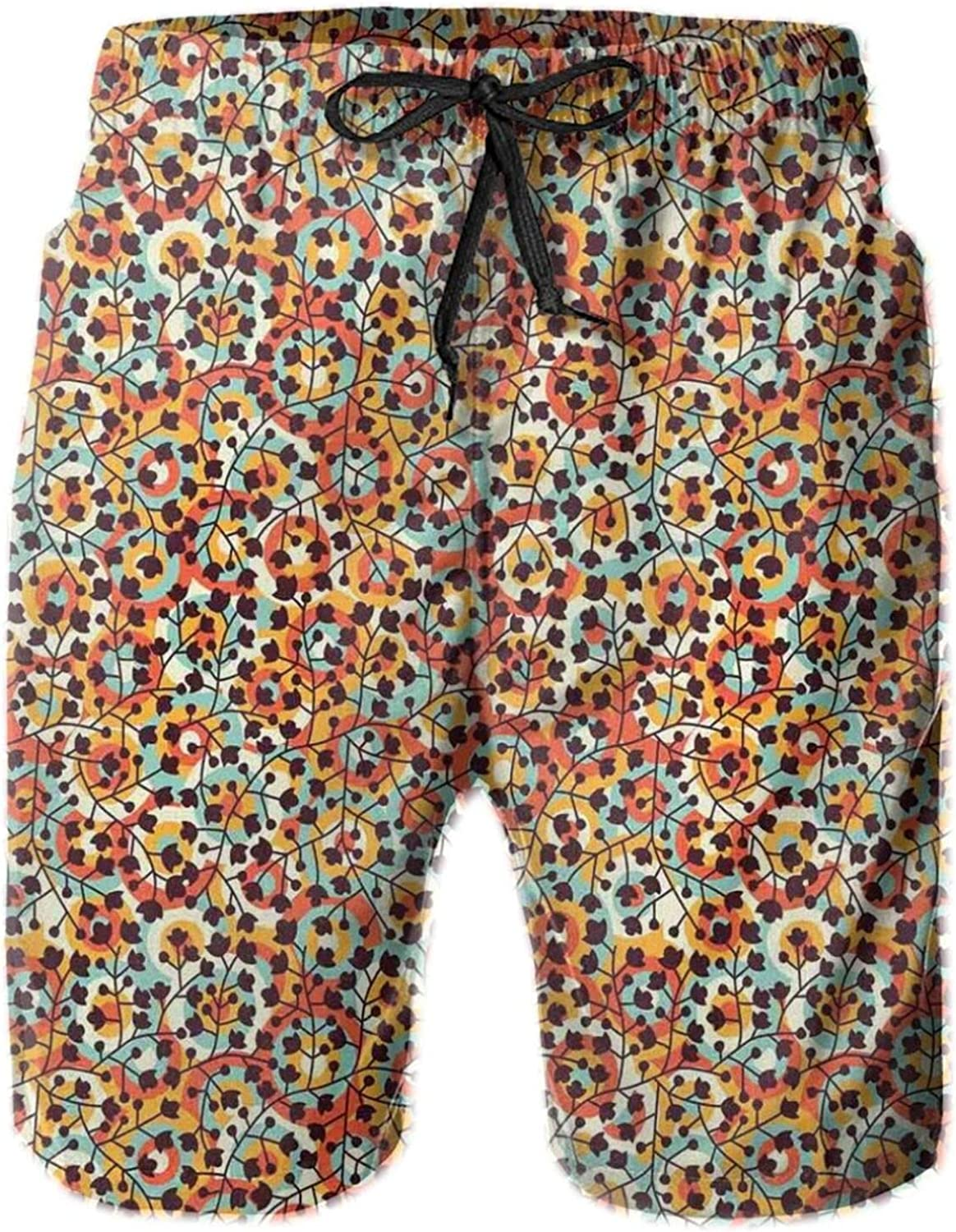 Nature Inspired Scroll Pattern Buds On an Abstract Background with Colorful Circles Drawstring Waist Beach Shorts for Men Swim Trucks Board Shorts with Mesh Lining,L
