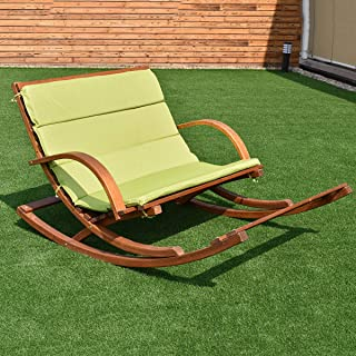 Taltintoo20 Outdoor 2 Persons Rocking Wooden Lounge Chair with Cushion