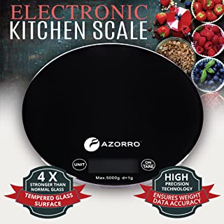 Kitchen Digital Food Scale By Azorro - Premium Electronic High Accuracy 11lb/5kg Perfect for Weighing & Portion Control All Liquid & Dry Ingredients -Very Strong Tempered Glass - Large LCD Display
