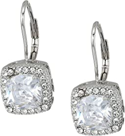 Betsey Johnson - Blue by Betsey Johnson CZ Square-Shaped Stone Drops with Crystal Accents and Heart-Shaped Cut Out Details Earrings