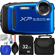 Fujifilm FinePix XP120 Digital Camera (Blue) – International Version (No Warranty) with 6pc Accessory Bundle – Includes 32GB SD Memory Card + Small Carrying Case + High Speed Card Reader + More