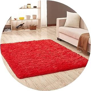 Show-Show-Fashion Shop&Living Room Black Carpet European Fluffy Mat Rug Bedroom Mat Antiskid Soft Faux Fur Area Rug Rectangle Mats,red,50x80cm