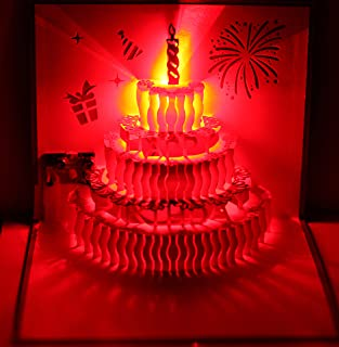 3D Pop Up Greeting Cards LED Light Happy Birthday Music Card Postcards (Birthday Cake)