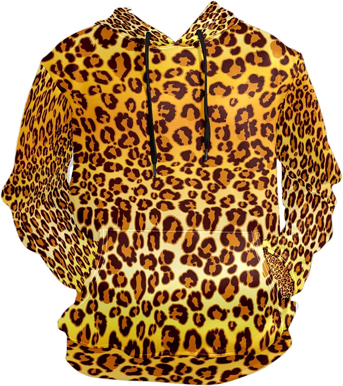 Men's Sport Hoodie Golden Yellow Leopard Print Big and Tall Hoodies for Men Women Oversized Hooded Sweatshirt Hip Hop Pullover Hoodie Midweight Hood for Boys Girls