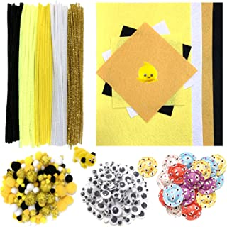 DOITEM 528 PC Crafting Kit for Kids | Pipe Cleaners, Pompoms & Googly Eyes Decorative Hat Felt Fabric Sheets | DIY Art Supplies for Children's Craft Projects, Paper Crafts, Holiday Crafts, Yellow