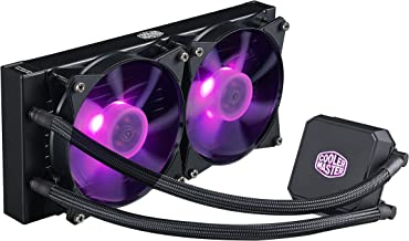 Cooler Master MasterLiquid LC240E RGB Close-Loop AIO CPU Liquid Cooler, 240mm Radiator, Dual Chamber RGB Pump, Dual MF120R RGB Fans w/RGB Lighting Sync for AMD Ryzen/Intel 1151/2066