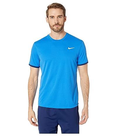 Nike NikeCourt Dri-FIT Short Sleeve Tennis Top (Signal Blue/Blue Void/Blue Void) Men