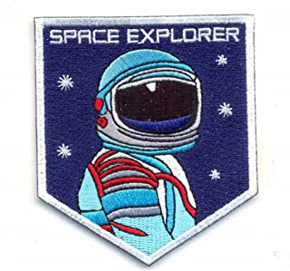 SPACE EXPLORER. IRON ON EMBROIDERED EMBROIDERY PATCH PATCHES SIZE … 3.25 X 2.85 INCHES NASA MOON PLANETS STAR GALAXY TRAVEL ASTRONAUT UNIVERSE SPACE CAMP ROCKETS HALLOWEEN COSTUME