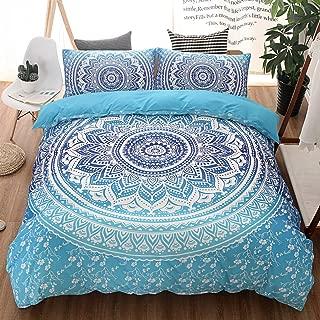 Argstar 2 Pcs Boho Floral Duvet Cover Set Twin, Blue Medallion and Flower Pattern Bedding Set, Retro Bohemian Comforter Cover, Luxury Lightweight Microfiber, 1 Duvet Cover and 1 Pillowcase