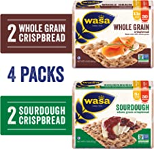 Wasa Swedish Crispbread Variety 4 Pack, Sourdough (Pack Of 2) & Whole Grain (Pack Of 2), All-Natural Crackers, Fat Free, N...