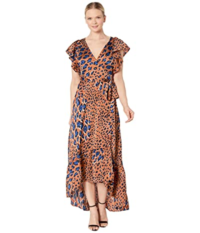 American Rose Lydia Leopard Print Short Sleeve Wrap Dress (Brown/Royal) Women