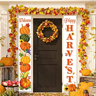 Happy Harvest Pumpkin Porch Sign Happy Fall Banner Decoration, Fall Autumn Vintage Harvest Blessings Thanksgiving Hanging Banner Flag for Yard Indoor Outdoor