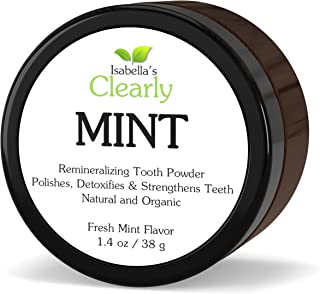 Isabella's Clearly Mint, Natural Remineralizing Tooth Powder to Strengthen, Polish & Detoxify Teeth. Fluoride-Free, High Mineral, Whitening Powdered Toothpaste for Adults and Kids (1.4 Oz)