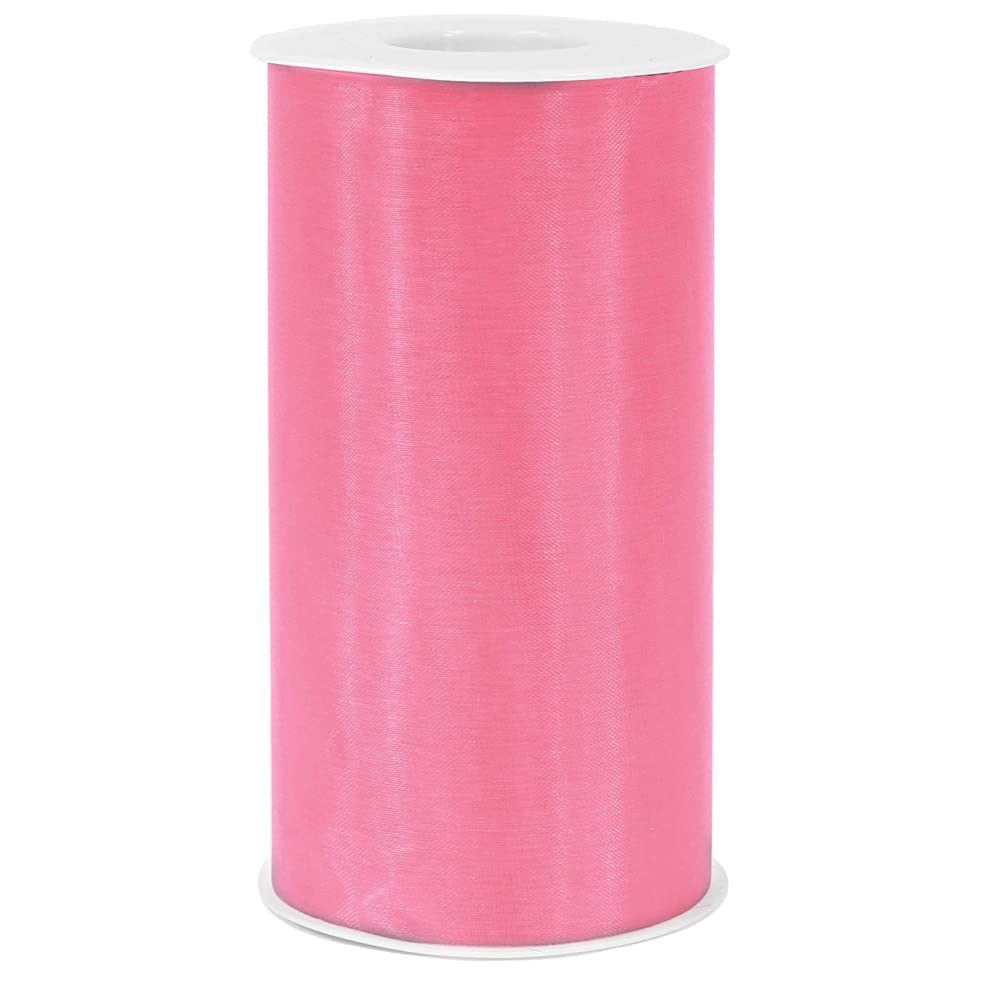 """[ 6"""" x 50yd ] Light Pink Organza Roll for Craft and Party Decoration (Light Pink, Organza roll)"""