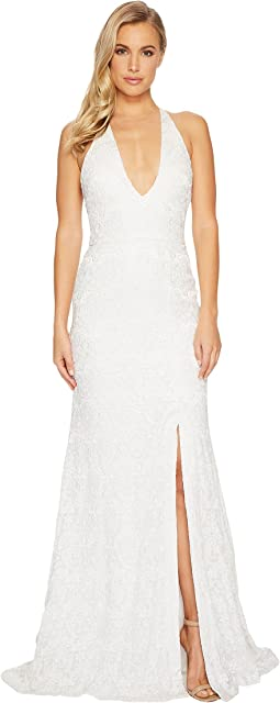 Sophia Paisley Embroidery Plunge Gown