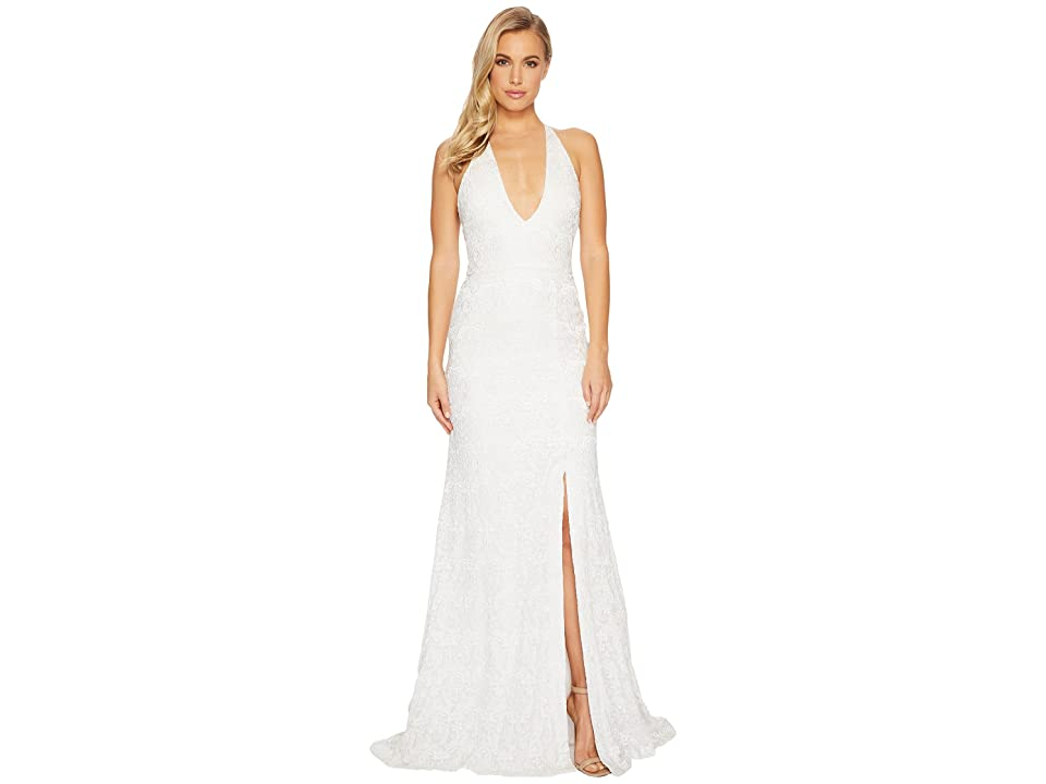 Nicole Miller Sophia Paisley Embroidery Plunge Gown (Ivory) Women
