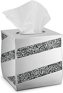 DWELLZA Tissue Box Cover Square - Decorative Bathroom Tissue Holder, Silver Mosaic Collection, Bottom Slider, Silver Bathroom Accessories